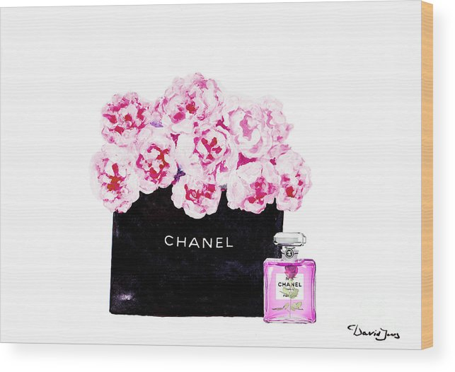 Chanel Art Print Wood Print featuring the mixed media Chanel With Flowers by Del Art