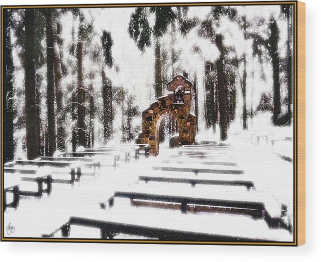 Bench Wood Print featuring the photograph Chapel Of The Woods In A Snowy Glow by Wayne King