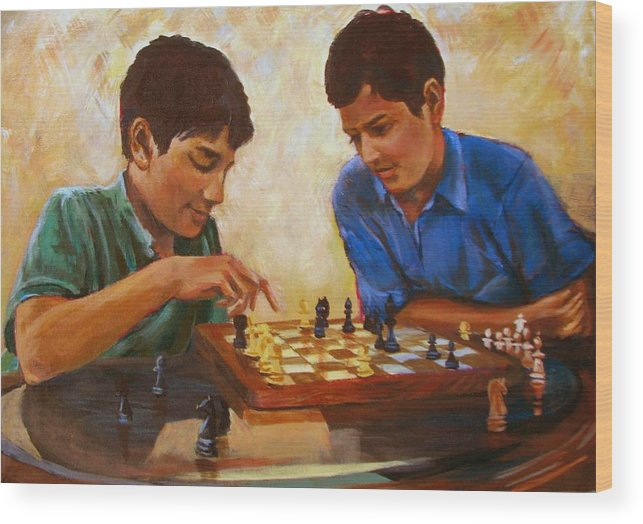 Chess Wood Print featuring the painting Check by Art Nomad Sandra Hansen
