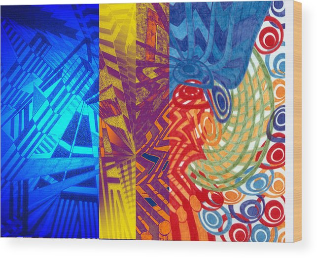 Abstract Wood Print featuring the digital art Colorful Light by B and C Art Shop