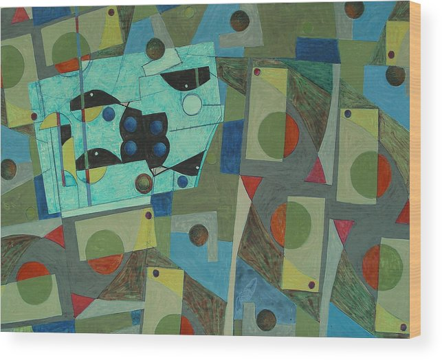 Abstract Wood Print featuring the painting Composition Xxv 07 by Maria Parmo