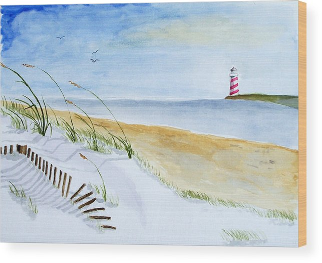 Beach Wood Print featuring the painting Cove With Lighthouse by Robert Thomaston