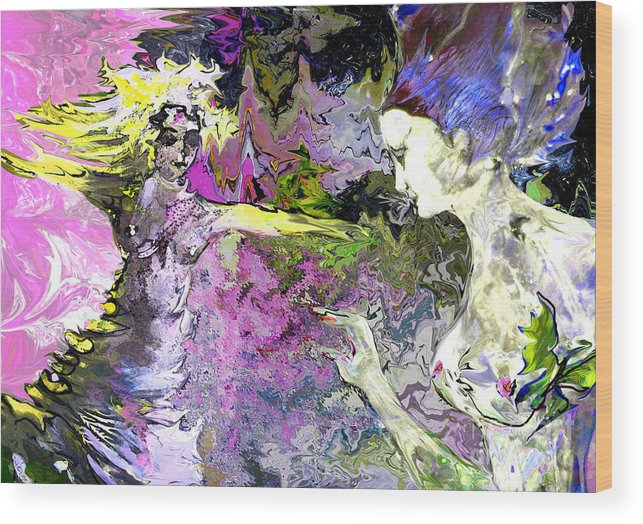 Miki Wood Print featuring the painting Dance In Violet by Miki De Goodaboom