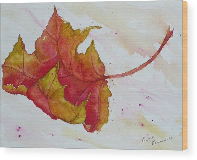 Fall Wood Print featuring the painting Descending by Ruth Kamenev