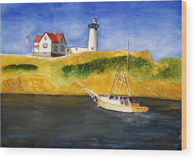 Lighthouse Wood Print featuring the painting East Coast Lighthouse With Crab Boat by Robert Thomaston