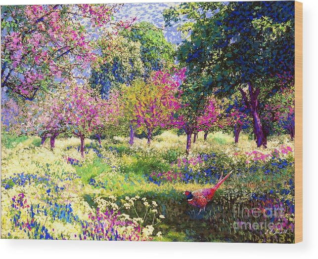 Wildflower Wood Print featuring the painting Echoes From Heaven, Spring Orchard Blossom And Pheasant by Jane Small