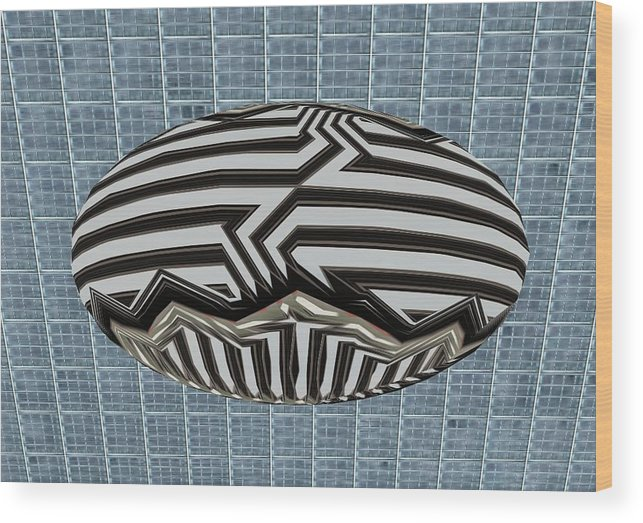Digital Wood Print featuring the digital art Egg Blimp In The Hanger by Thomas Smith