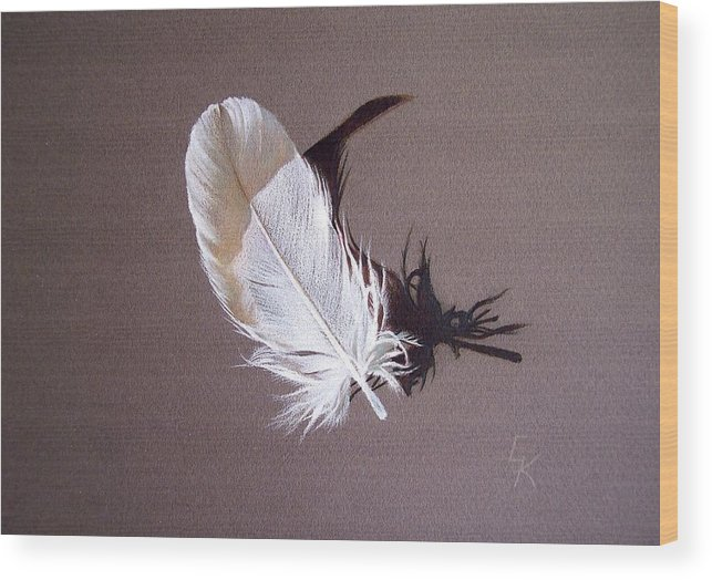 Still Life Wood Print featuring the drawing Feather And Shadow 1 by Elena Kolotusha