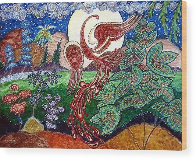 Folk Wood Print featuring the painting Firebird by Caroline Urbania Naeem