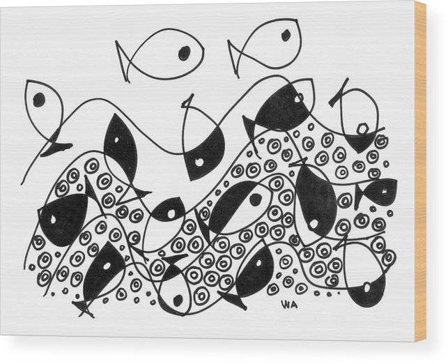 Fish Wood Print featuring the drawing Fish by Wilson Abad