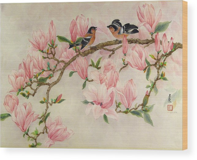Bird Wood Print featuring the painting Forlicking Birds by Ying Wong
