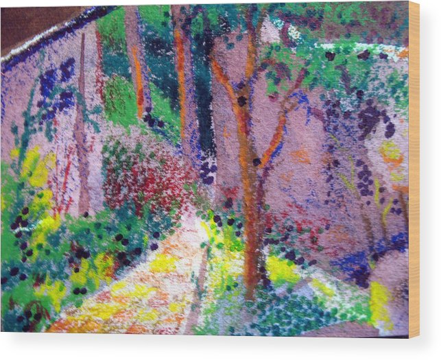 Aceo Wood Print featuring the painting Garden Tour by Bill Meeker