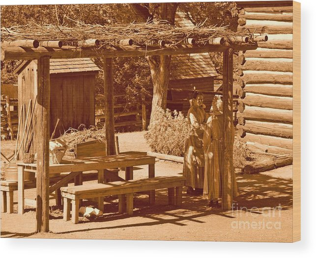 Sepia Wood Print featuring the photograph Gardiner Cabin - Circa 1800's by Dennis Hammer