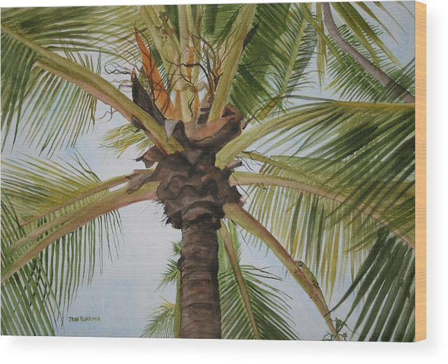 Palm Tree Wood Print featuring the painting Gecko Heaven by Jean Blackmer
