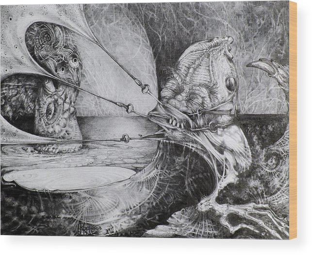 Surrealism Wood Print featuring the drawing General Peckerwood In Purgatory by Otto Rapp