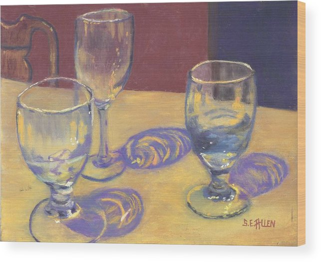 Glasses Wood Print featuring the painting Glasslights by Sharon E Allen
