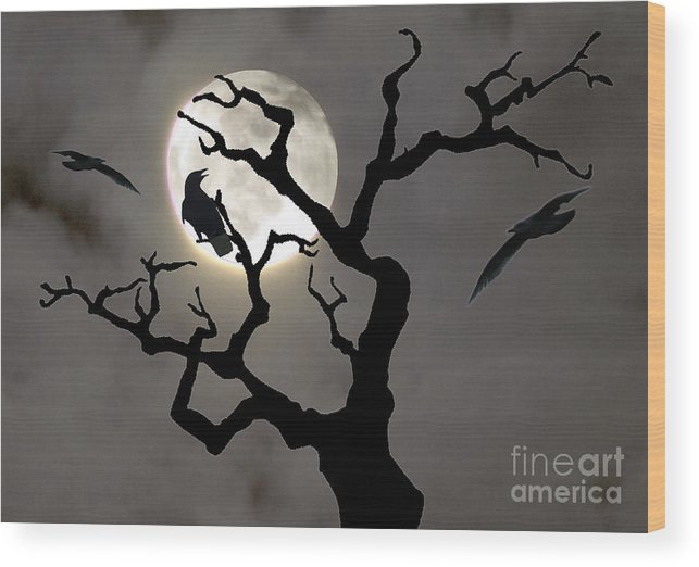 Moon Wood Print featuring the photograph Halloween by Jim Wright