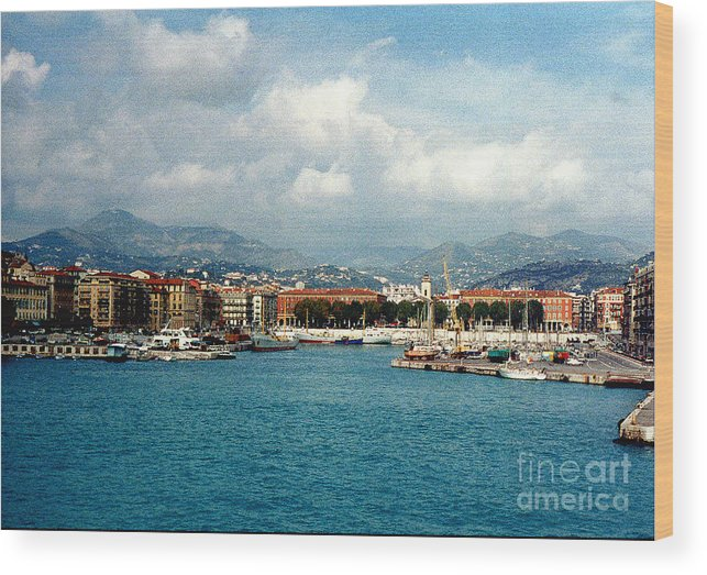 Landscape Wood Print featuring the photograph Harbor Scene In Nice France by Nancy Mueller