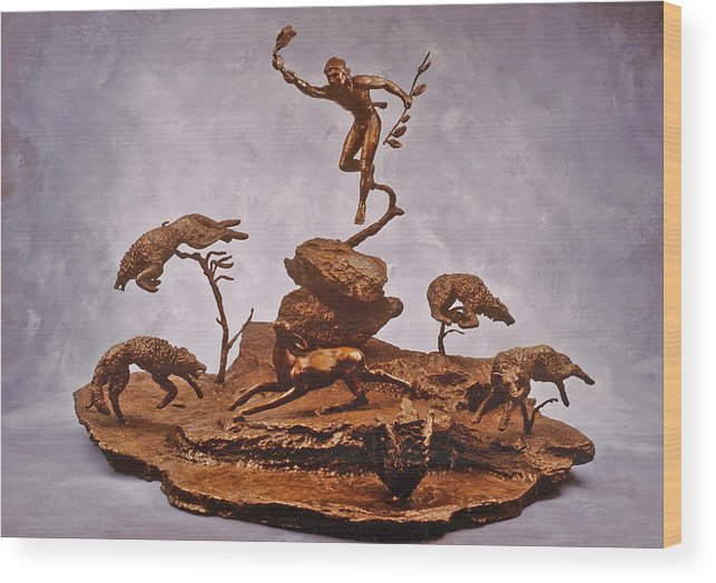 Stolen Art Wood Print featuring the sculpture He Who Saved The Deer Complete by Dawn Senior-Trask and Willoughby Senior