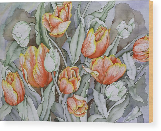 Flowers Wood Print featuring the painting Home Sweet Home 2 by Liduine Bekman
