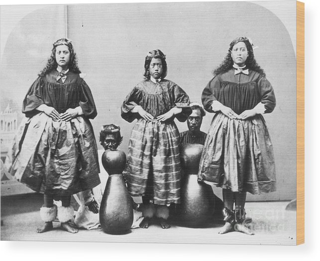 1875 Wood Print featuring the photograph Hula Dancers, C1875 by Granger