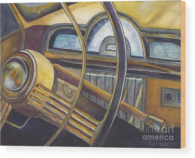 Car Wood Print featuring the painting Joyride by Barb Pearson