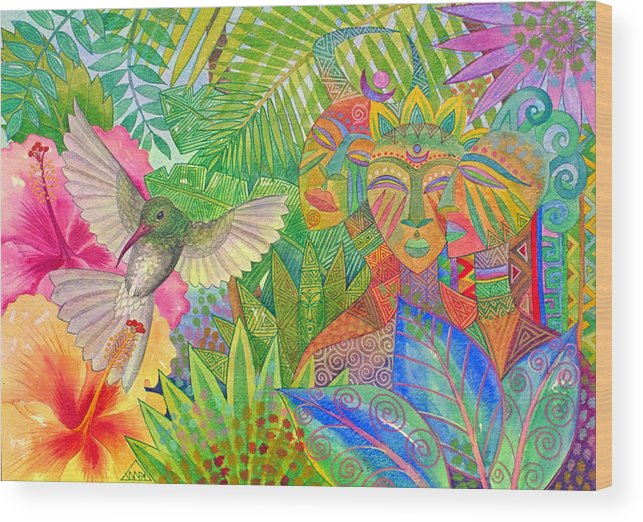 Tropical Exotic Jungle Wild Life Bird Spirit Masks Wood Print featuring the painting Jungle Spirits And Humming Bird by Jennifer Baird