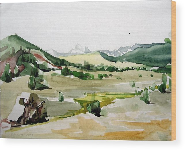 Landscapes High Desert Wildlife Nature River Blue Mountains Outdoors Airy Watery Wood Print featuring the painting Kennedy Meadows The Dome Lands by Amy Bernays