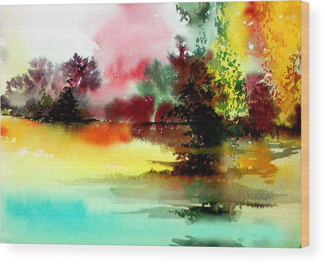 Nature Wood Print featuring the painting Lake In Colours by Anil Nene
