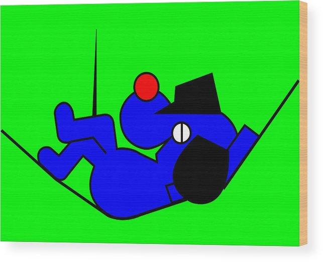 Lazy Blue Dog Wood Print featuring the digital art Lazy Blue Dog by Asbjorn Lonvig
