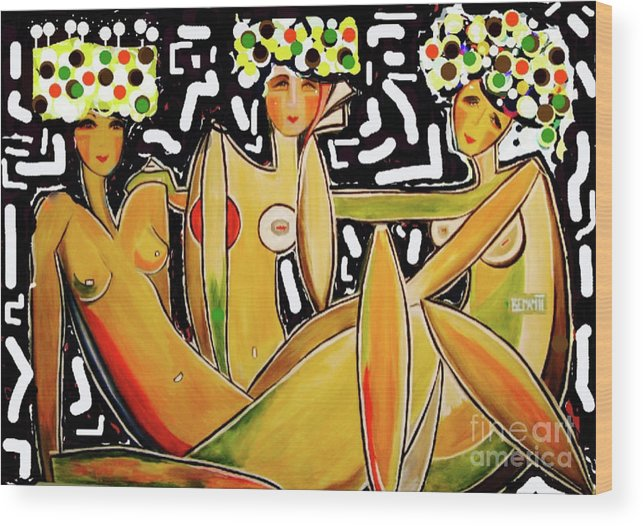 Birthdays Wood Print featuring the painting Lets Celebrate by Dianne Lynn Benanti