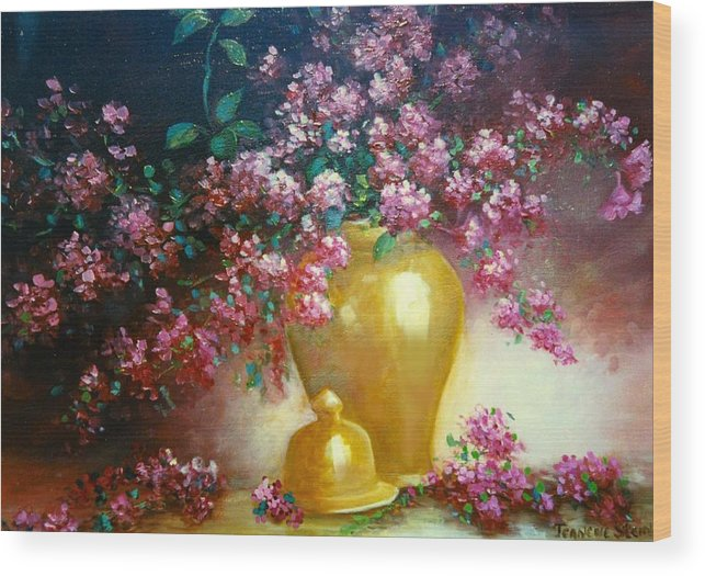 Lilacs Wood Print featuring the digital art Lilacs In Gold Vase by Jeanene Stein