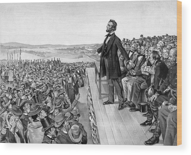 Gettysburg Address Wood Print featuring the drawing Lincoln Delivering The Gettysburg Address by War Is Hell Store