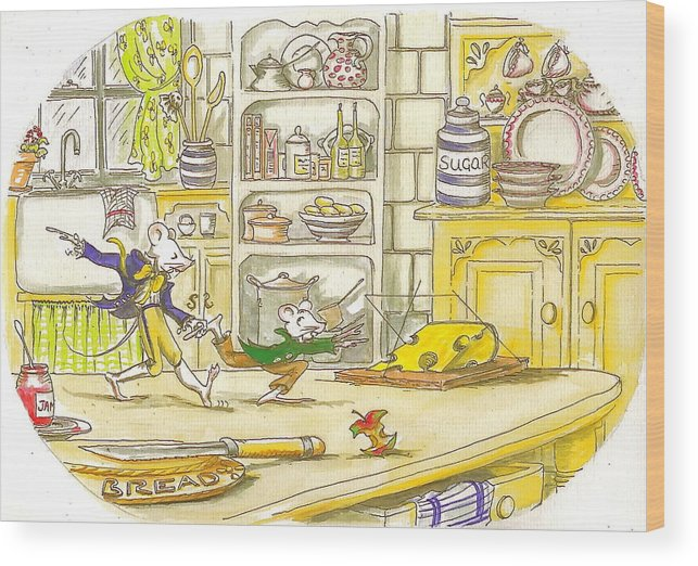 Mice Wood Print featuring the painting Lucky Escape by Yvonne Ayoub