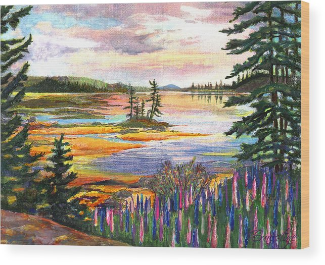 Lupines Wood Print featuring the painting Lupine Sunrise by Ernestine Grindal