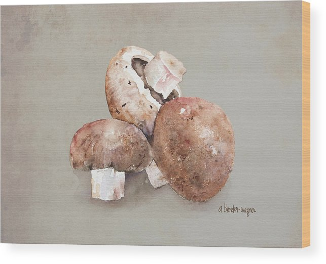 Mushroom Wood Print featuring the painting Mushrooms by Arline Wagner