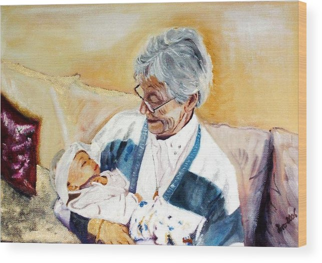 Portrait Wood Print featuring the painting my granddaughter Leonie with her great grandmum by Helmut Rottler