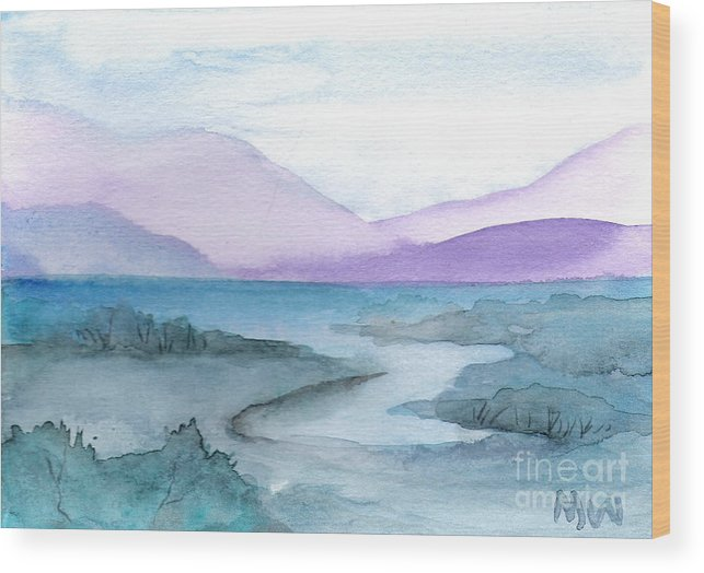 Water Blue Green Purple Seascape Land Sacpe Painting Watercolor Wood Print featuring the painting New York Quiet by Marsha Woods