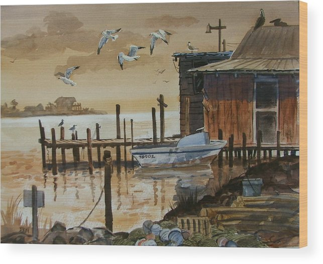 Boathouse Wood Print featuring the painting Old Boathouse by Dianna Willman