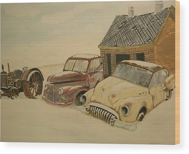Car Wood Print featuring the painting Old Cars by Janos Szatmari