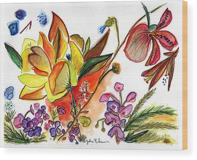 Flowers Wood Print featuring the painting Orchid No. 30 by Julie Richman