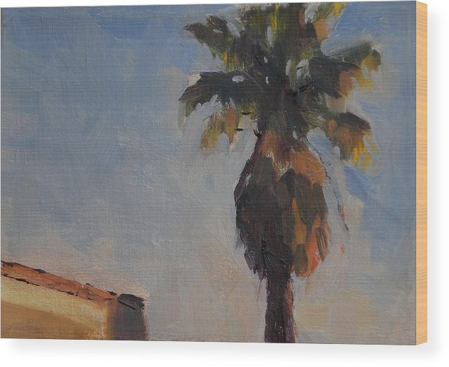Landscape Wood Print featuring the painting Palm Tree In Winter Light by Merle Keller