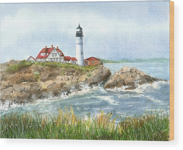 Lighthouses Wood Print featuring the painting Portland Headlight by Mary Dunham Walters