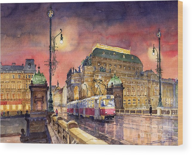 Bridge Wood Print featuring the painting Prague Night Tram National Theatre by Yuriy Shevchuk