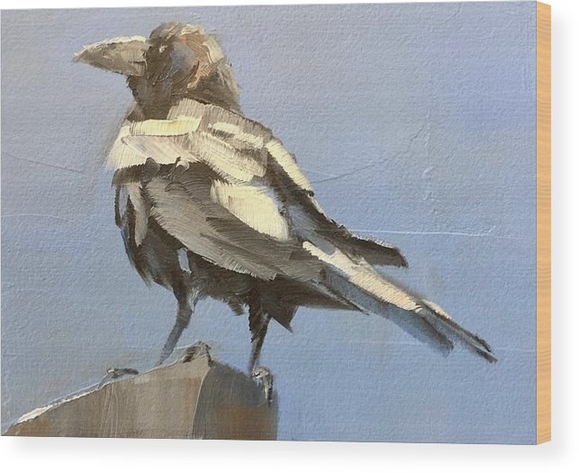 Bird Wood Print featuring the painting Raven by Gary Bruton
