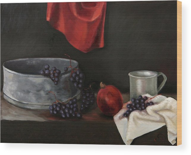 Still-life Dark Brown Red Grapes Blue Drapery Wood Print featuring the painting Red Grapes by Raimonda Jatkeviciute-Kasparaviciene