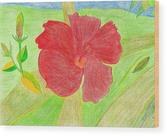 Red Flower Wood Print featuring the drawing Red Passion by Michael Puya