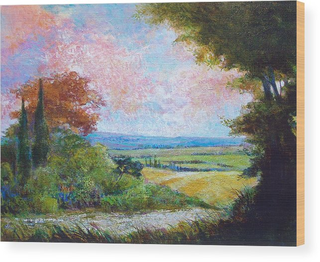 Landscape Wood Print featuring the painting Road To The Fields by Dale Witherow