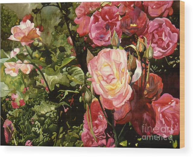 Watercolor Wood Print featuring the painting Rose Garden by Teri Starkweather