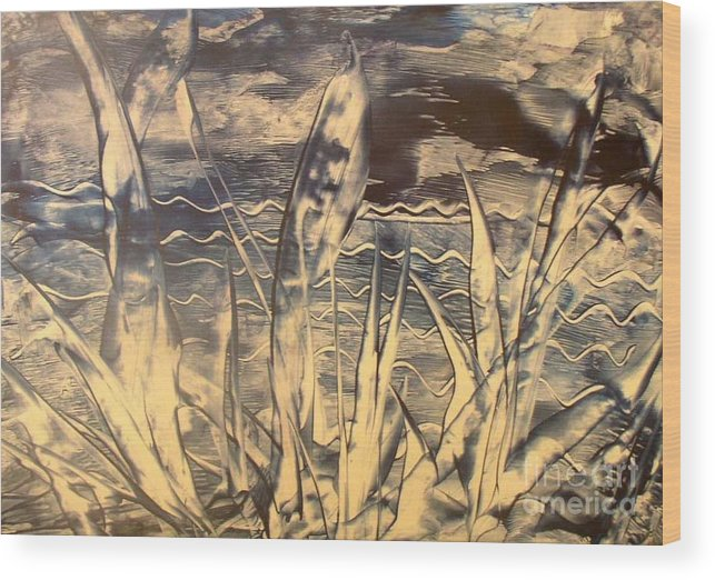 Encaustic Wood Print featuring the painting Sea View by Heather Hennick